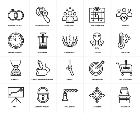 Set Of 20 icons such as Desk chair, agnostic, toll booth, lockout tagout, lms, why us, cthulhu, ortho, scarcity, aeropress, headcount, web UI editable icon pack, pixel perfect