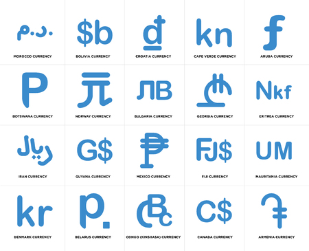 Set Of 20 simple editable icons such as Eritrea currency, Congo (Kinshasa) Belarus Botswana Bulgaria web UI icon pack, pixel perfect Ilustração
