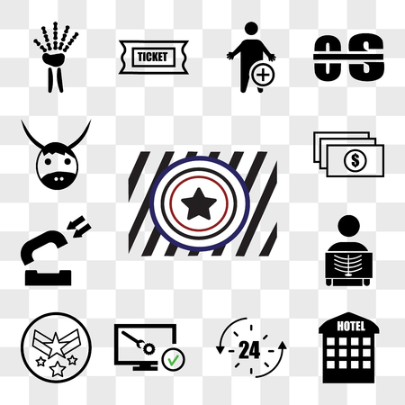 Set Of 13 transparent editable icons such as Airforce, accomodation, 24 hr, disaster recovery, air force, radiologist, inbound, accounts payable, yak, web ui icon pack, transparency set Ilustração