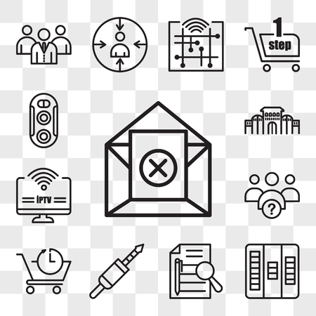 Set Of 13 transparent editable icons such as unsubscribe, kanban, executive summary, 3.5 mm jack, pre order, why us, iptv, shaniwar wada, dual camera, web ui icon pack, transparency set