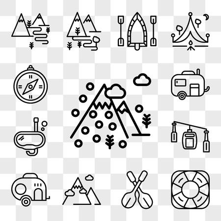 Set di 13 icone modificabili trasparenti come montagna, salvavita, pagaie, roulotte, cabina della funivia, snorkeling, bussola, pacchetto di icone dell'interfaccia utente web, set di trasparenza