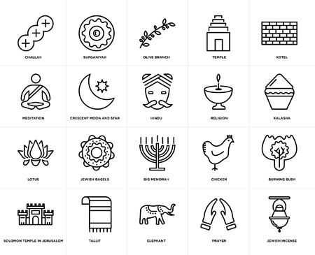 Set di 20 semplici icone modificabili come incenso ebraico, Kalasha, Kotel, tempio, tempio di Salomone a Gerusalemme, Sufganiyah, pollo, meditazione, pacchetto di icone dell'interfaccia utente web, pixel perfetto