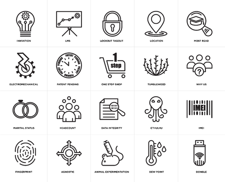 Set Of 20 simple editable icons such as dongle, why us, most read, location, fingerprint, lms, cthulhu, electromechanical, web UI icon pack, pixel perfect Illustration