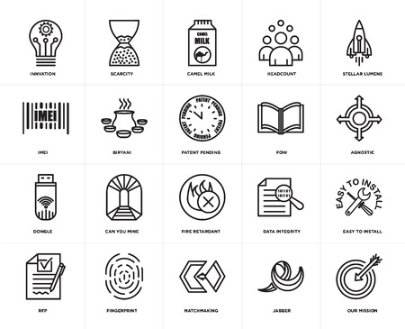 Set Of 20 icons such as our mission, jabber, matchmaking, fingerprint, rfp, stellar lumens, fow, fire retardant, dongle, biryani, camel milk, web UI editable icon pack, pixel perfect