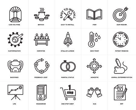 Set Of 20 icons such as rfp, dua, one stop shop, webserver, lms, our mission, dew point, marital status, Backpack, commitee, easy to install, web UI editable icon pack, pixel perfect