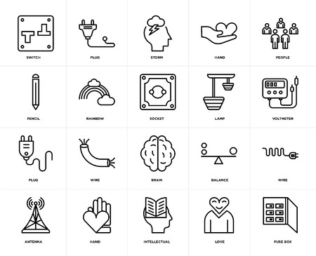 Set Of 20 icons such as Fuse box, Love, Intellectual, Hand, Antenna, People, Lamp, Brain, Plug, Rainbow, Storm, web UI editable icon pack, pixel perfect