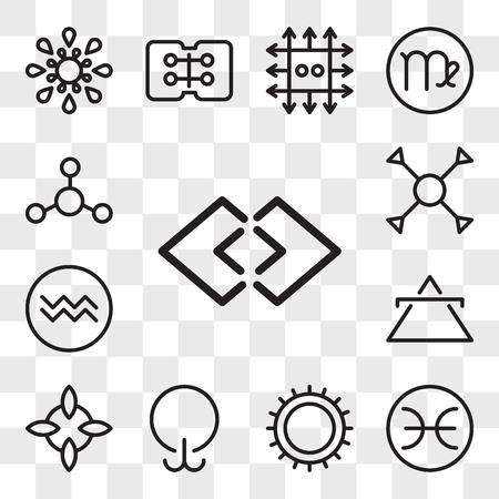 Ensemble de 13 icônes modifiables transparentes telles que Justice, Poissons, Soleil, Léthargie, Bonne chance, Air, Verseau, Compréhension, Argent, pack d'icônes de l'interface utilisateur Web, jeu de transparence