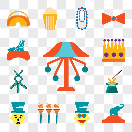 Set Of 13 transparent editable icons such as Carousel, Elephant, Magician, Flambeaux, Clown, Balloon modelling, Crown, Seal, web ui icon pack, transparency set