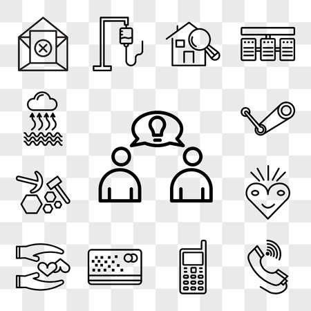 Set Of 13 transparent editable icons such as founder, tele, handphone, punch card, loyal, bliss, quarry, steam, evaporation, web ui icon pack, transparency set