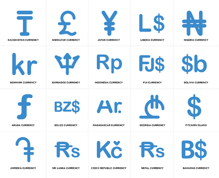 Set Of 20 simple editable icons such as Bolivia currency, Czech Republic Sri Lanka Denmark Indonesia web UI icon pack, pixel perfect