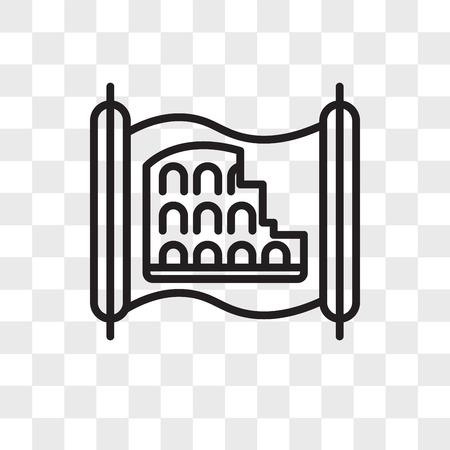 Colosseum vector icon isolated on transparent background, Colosseum logo concept Ilustração