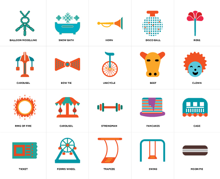 Set Of 20 icons such as Moon pie, Swing, Trapeze, Ferris wheel, Ticket, Rose, Beef, Strongman, Ring of fire, Bow tie, Horn, web UI editable icon pack, pixel perfect Illustration
