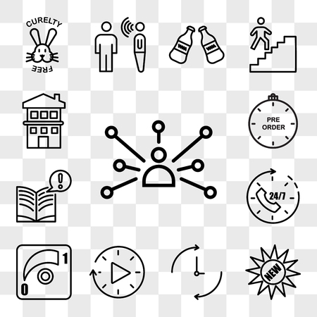 Set Of 13 transparent editable icons such as cross channel, new, ongoing, downtime, dimmer, 24x7, interesting facts, preorder, two story house, web ui icon pack, transparency set