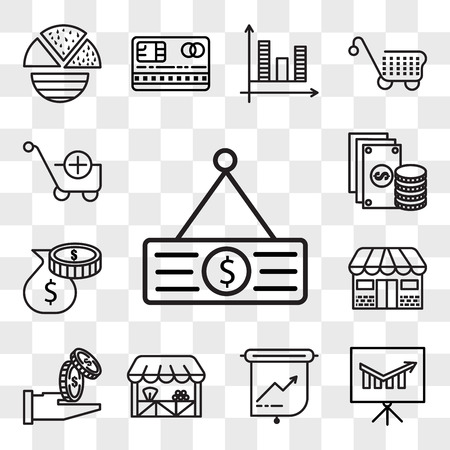 Set Of 13 transparent editable icons such as Price tag, Presentation, Grocery, Get money, Store, Poor, Change, Folder, web ui icon pack, transparency set