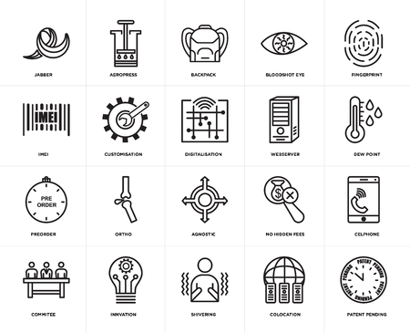 Set Of 20 simple editable icons such as patent pending, dew point, fingerprint, bloodshot eye, commitee, aeropress, no hidden fees, imei, web UI icon pack, pixel perfect