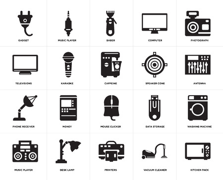 Set Of 20 simple editable icons such as Kitchen pack, Antenna, Photograph, Computer, Music player, Data storage, Televisions, web UI icon pixel perfect