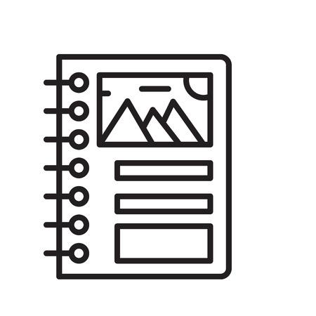 Rilegatura icona vettoriale isolato su sfondo bianco, segno trasparente vincolante, linea o elementi di design lineare di una struttura