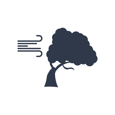 Wind bending Tree icon vector isolated on white background for your web and mobile app design, Wind bending Tree logo concept Logo