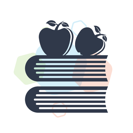 Apple and books icon vector isolated on white background for your web and mobile app design, Apple and books logo concept Illustration