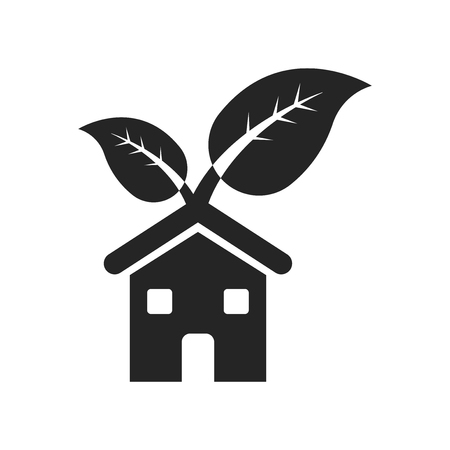 Eco home icon vector isolated on white background for your web and mobile app design, Eco home logo concept
