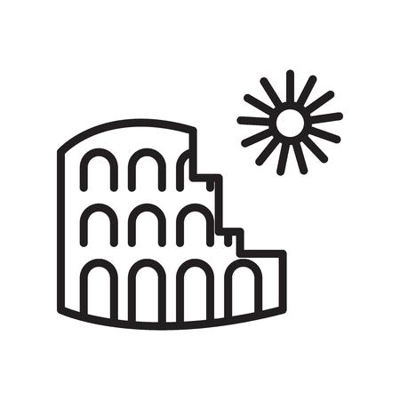 Vector icono de Coliseo aislado sobre fondo blanco para su diseño web y aplicaciones móviles, concepto de logo de Coliseo