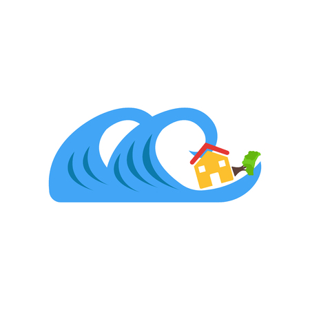 Tsunami icon vector isolated on white background for your web and mobile app design, Tsunami logo concept Иллюстрация