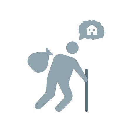 Obdachloser Symbolvektor lokalisiert auf weißem Hintergrund für Ihr Web- und mobiles App-Design