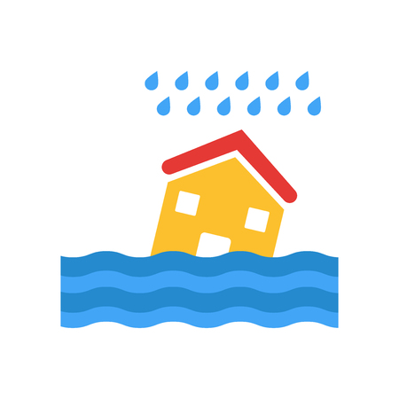 Flooded house icon vector isolated on white background for your web and mobile app design