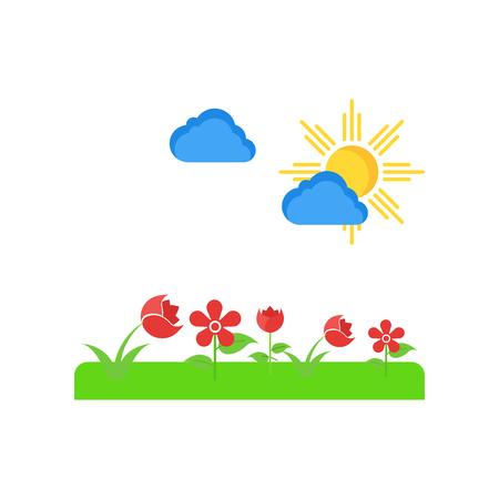 ウェブおよびモバイルアプリのデザインのために白い背景に分離されたスプリングアイコンベクトル 写真素材 - 107103158
