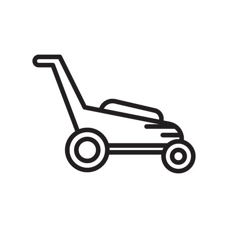 Rasenmäher-Symbolvektor lokalisiert auf weißem Hintergrund für Ihr Web- und mobile App-Design