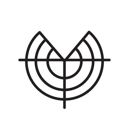 Radarsymbolvektor lokalisiert auf weißem Hintergrund für Ihr Web- und mobiles App-Design Vektorgrafik