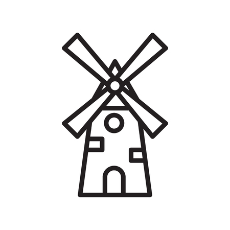 Windmill icon vector isolated on white background for your web and mobile app design  イラスト・ベクター素材