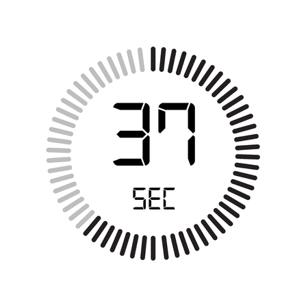 The 37 seconds icon, digital timer. clock and watch, timer, countdown symbol isolated on white background, stopwatch vector icon
