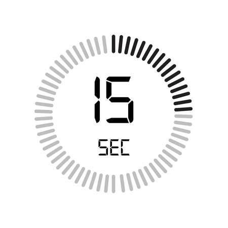 L'icône de 15 secondes, minuterie numérique. horloge et montre, minuterie, symbole de compte à rebours isolé sur fond blanc, icône de vecteur de chronomètre Vecteurs