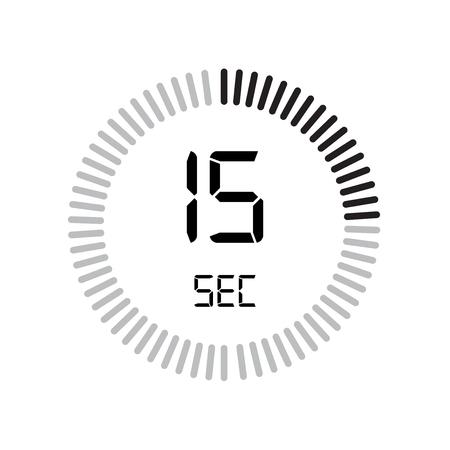 L'icona di 15 secondi, timer digitale. orologio e orologio, timer, simbolo del conto alla rovescia isolato su sfondo bianco, icona di vettore del cronometro Vettoriali