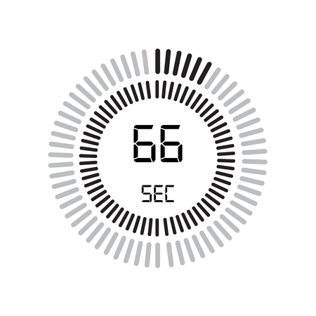 The 66 seconds icon, digital timer. clock and watch, timer, countdown symbol isolated on white background, stopwatch vector icon Vectores