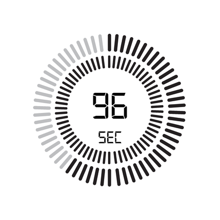 The 96 seconds icon, digital timer. clock and watch, timer, countdown symbol isolated on white background, stopwatch vector icon