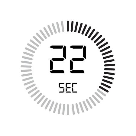 L'icona dei 22 secondi, timer digitale. orologio e orologio, timer, simbolo del conto alla rovescia isolato su sfondo bianco, icona del vettore del cronometro