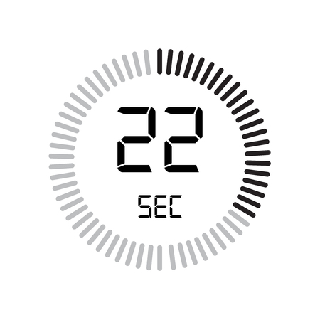 The 22 seconds icon, digital timer. clock and watch, timer, countdown symbol isolated on white background, stopwatch vector icon