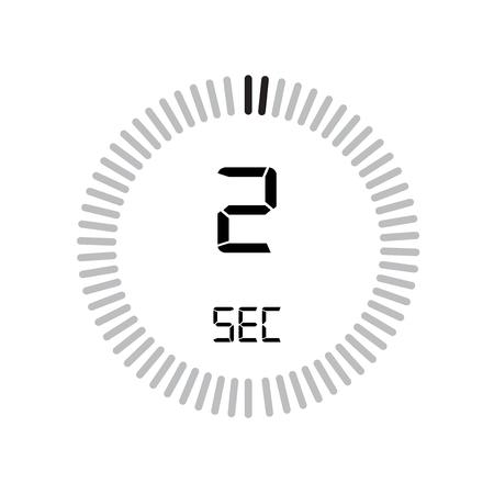 L'icona dei 2 secondi, timer digitale. orologio e orologio, timer, simbolo del conto alla rovescia isolato su sfondo bianco, icona del vettore del cronometro