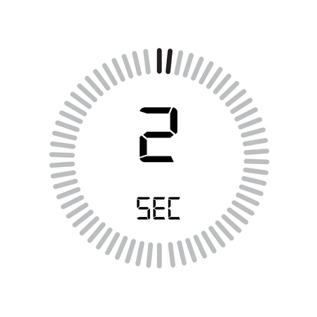 The 2 seconds icon, digital timer. clock and watch, timer, countdown symbol isolated on white background, stopwatch vector icon