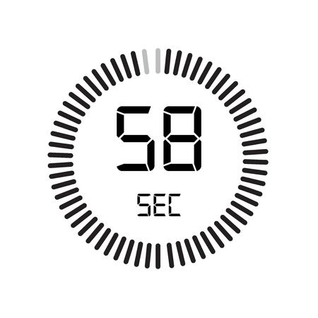 L'icona di 58 secondi, timer digitale. orologio e orologio, timer, simbolo del conto alla rovescia isolato su sfondo bianco, icona del vettore del cronometro Vettoriali