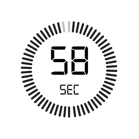 The 58 seconds icon, digital timer. clock and watch, timer, countdown symbol isolated on white background, stopwatch vector icon 向量圖像
