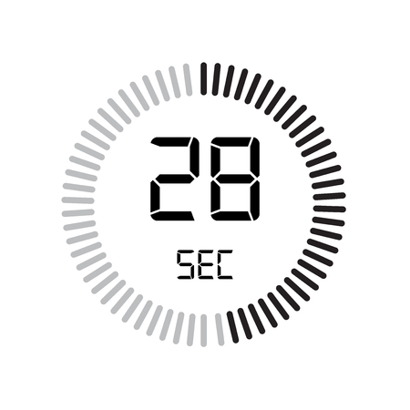 The 28 seconds icon, digital timer. clock and watch, timer, countdown symbol isolated on white background, stopwatch vector icon