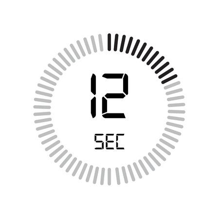 L'icona dei 12 secondi, timer digitale. orologio e orologio, timer, simbolo del conto alla rovescia isolato su sfondo bianco, icona del vettore del cronometro Vettoriali