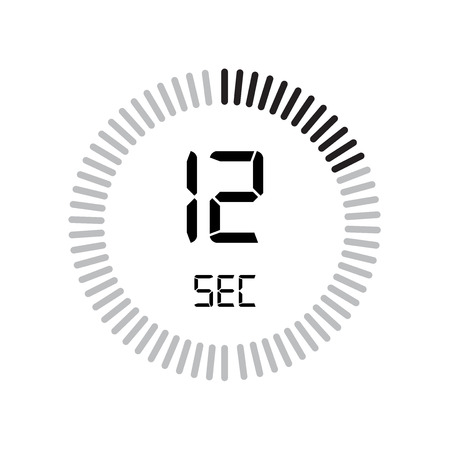 The 12 seconds icon, digital timer. clock and watch, timer, countdown symbol isolated on white background, stopwatch vector icon 向量圖像