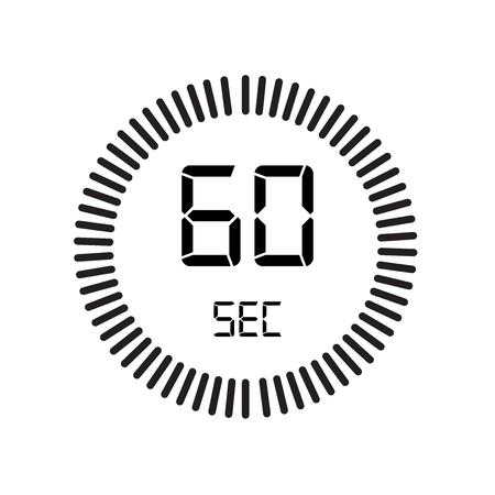 Ikona 60 sekund, zegar cyfrowy. zegar i zegarek, minutnik, symbol odliczania na białym tle, ikona wektor stopera