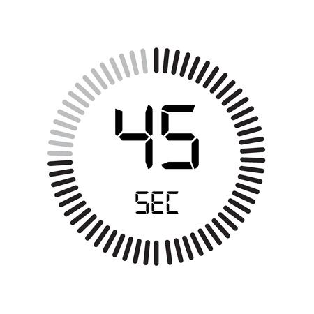 L'icône 45 secondes, minuterie numérique. horloge et montre, minuterie, symbole de compte à rebours isolé sur fond blanc, icône de vecteur de chronomètre