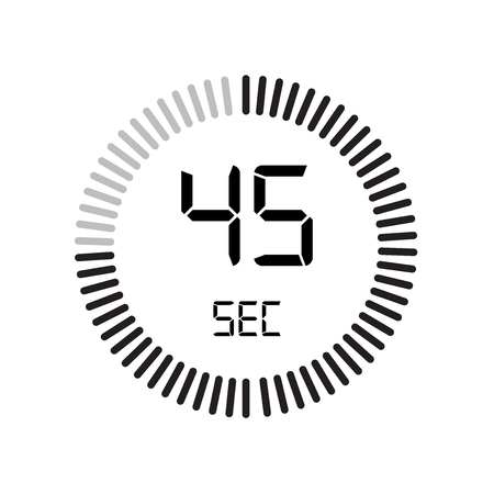 The 45 seconds icon, digital timer. clock and watch, timer, countdown symbol isolated on white background, stopwatch vector icon