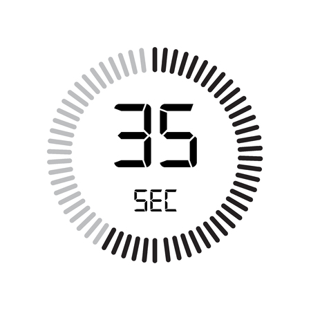 The 35 seconds icon, digital timer. clock and watch, timer, countdown symbol isolated on white background, stopwatch vector icon 向量圖像